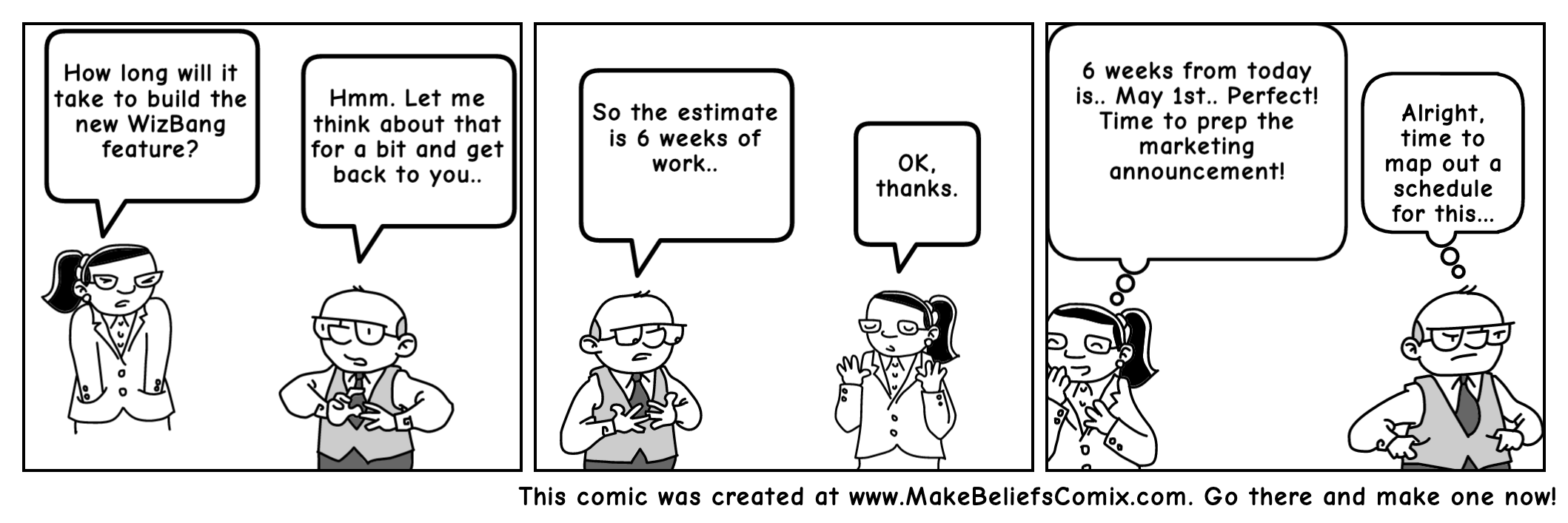 Estimated Time != Calendar time comic